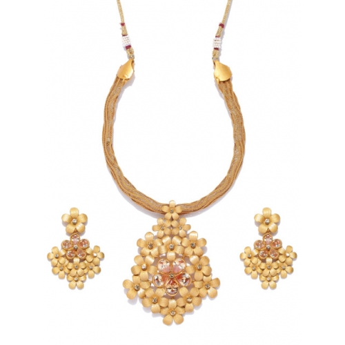 Priyaasi Gold-Toned Stone-Studded Jewellery Set