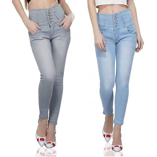 Luxsis Skinny Women Blue, Grey Jeans(Pack of 2)