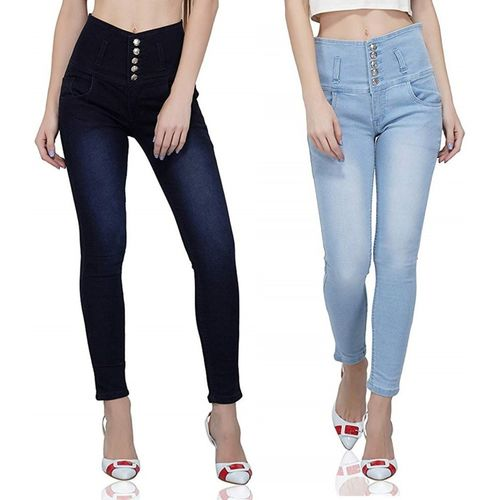 Luxsis Skinny Women Light Blue, Blue Jeans(Pack of 2)