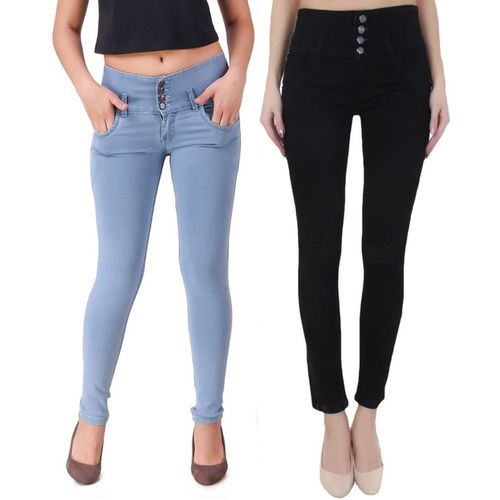 Ansh Fashion Wear Regular Women Light Blue, Black Jeans(Pack of 2)