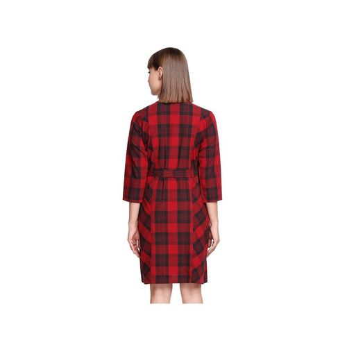 AND Red & Black Checks Dress