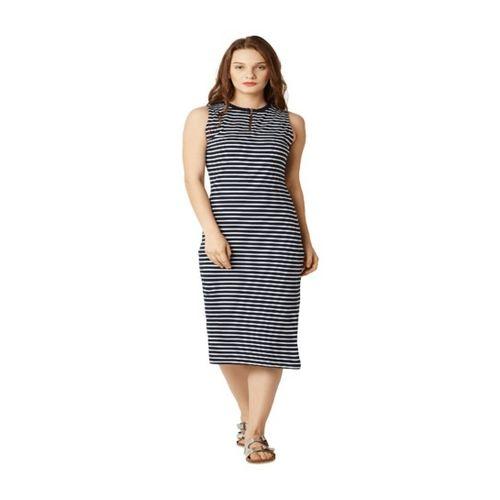 Miss Chase Black & White Striped Midi Dress