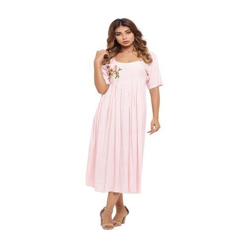 Sui Dhaga Pink Embroidered Midi Dress