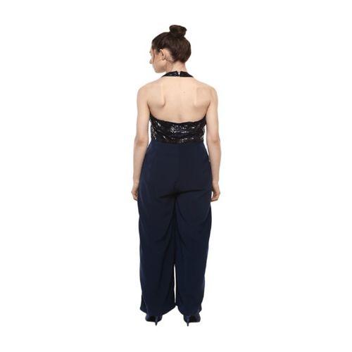 Kazo Navy Embellished Full Length Jumpsuit