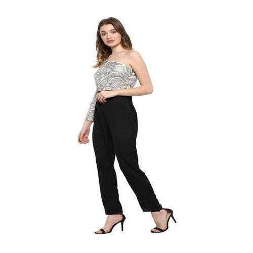 Kazo Grey & Black Embellished Full Length Jumpsuit