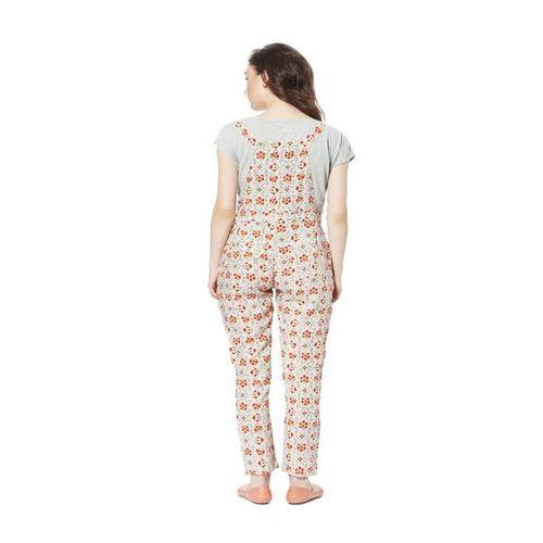 People Beige Floral Print Jumpsuit