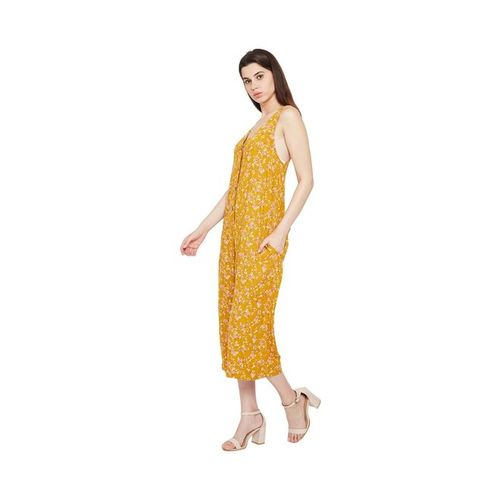 Oxolloxo Mustard Daffodil Charm Vogue Printed Jumpsuit