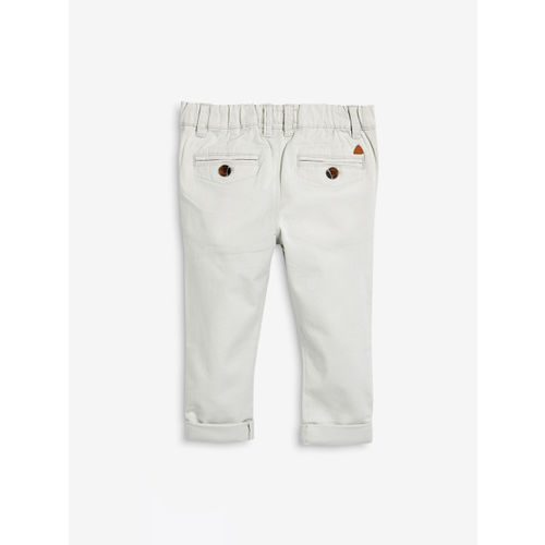 next Boys Off-White Regular Fit Solid Regular Trousers