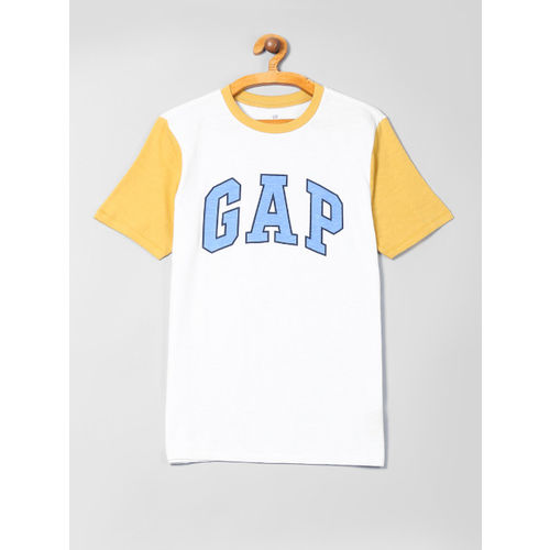 GAP Boys White & Yellow Logo Short Sleeve T-Shirt