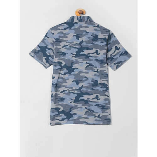 GAP Boys Blue Camo Textured Short Sleeve Shirt