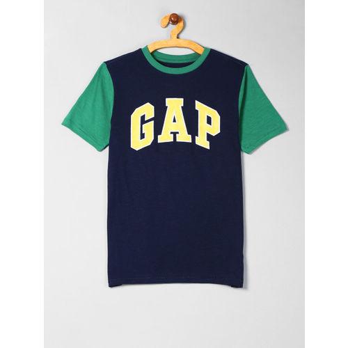 GAP Boys Navy Blue & Green Logo Short Sleeve T-Shirt