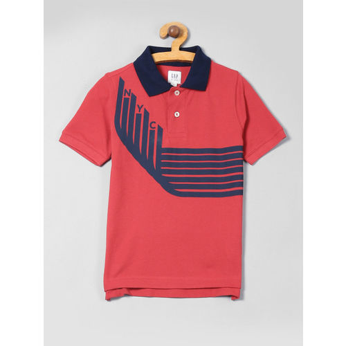 GAP Boys Red Graphic Short Sleeve Polo Shirt