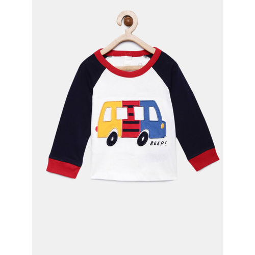 GAP Boys' White & Navy Blue Raglan Sleeve Graphic Tshirt