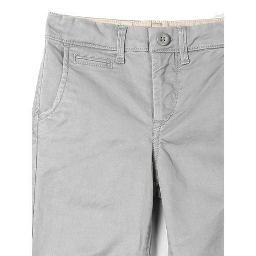 GAP Boys Grey Solid Stretch Khakis