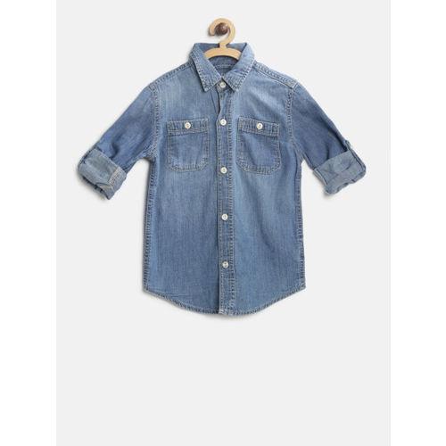 GAP Boy Denim Convertible Long Sleeve Shirt