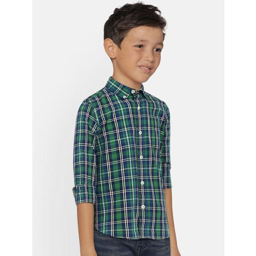 GAP Boys' Green & Navy Checked Poplin Plaid Long Sleeve Shirt