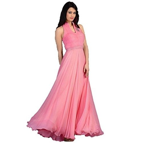 Cloth Velly Pink Georgette Women's Gown