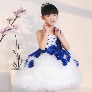 Yuanlu Stylish Royal Blue Floral Design Flared Party Dress