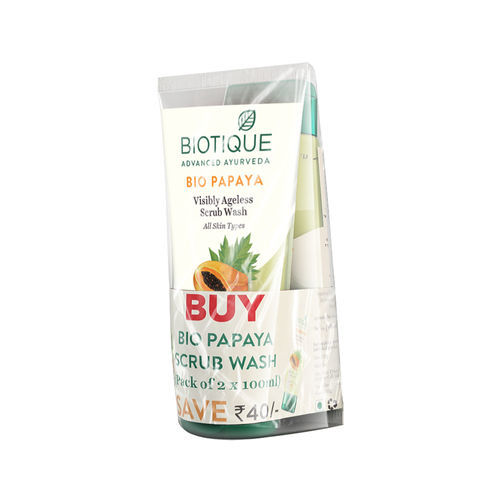 Biotique Bio Papaya Visibly Ageless Scrub Wash For All Skin Types - Pack of 2 (Save Rs 40)