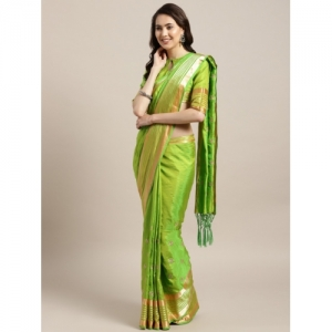 MANOHARI Green & Golden Embroidered Saree