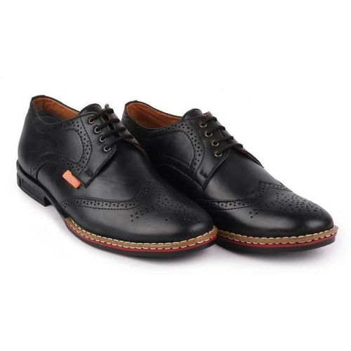 FAUSTO Fashionable Brogue Shoe For Men(Black)
