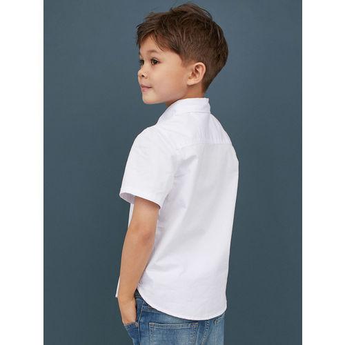 H&M Boys White Solid Cotton Shirt