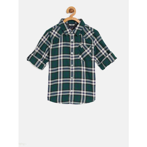 Allen Solly Junior Boys Green & Off-White Regular Fit Checked Casual Shirt