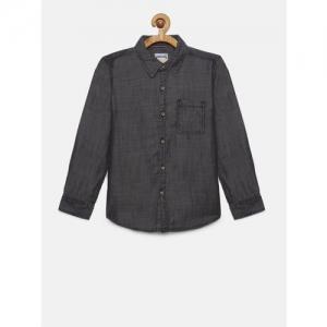 Lee Cooper Boys Black Regular Fit Solid Casual Shirt