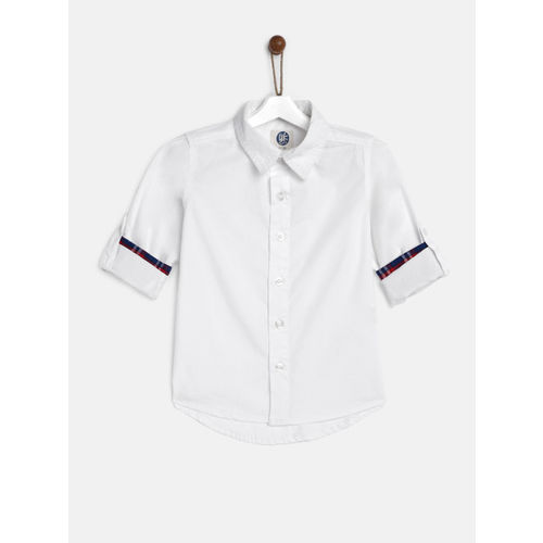 YK Boys White Casual Shirt with Contrast Turn-Up