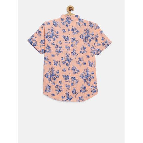 Gini and Jony Boys Peach-Coloured & Blue Regular Fit Printed Casual Shirt