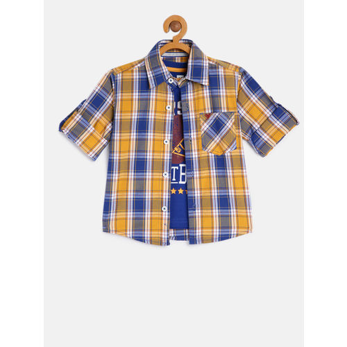612 league Boys Yellow & Blue Regular Fit Checked Casual Shirt With Tshirt