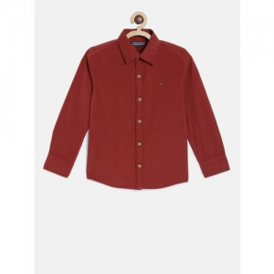 Tommy Hilfiger Boys Red Regular Fit Solid Casual Shirt