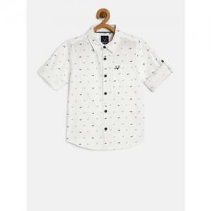 Allen Solly Junior Boys White & Navy Blue Regular Fit Printed Casual Shirt