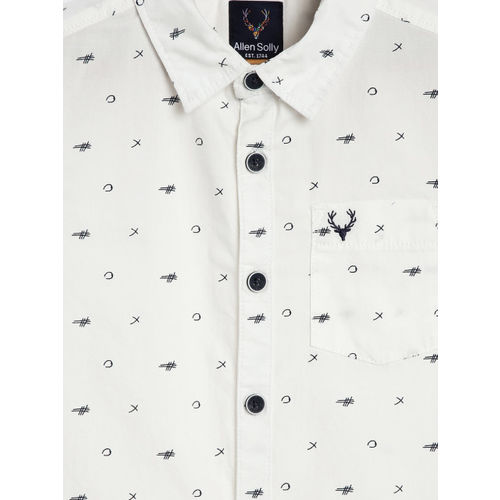 Allen Solly Junior Boys White & Navy Blue Regular Fit Printed Casual Shirt
