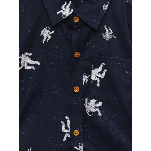 RIKIDOOS Boys Navy Blue Regular Fit Printed Casual Shirt