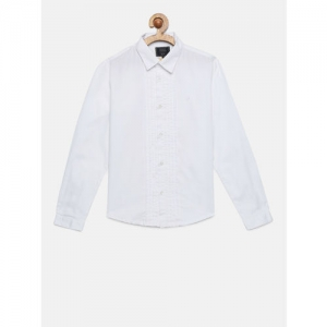 Indian Terrain Boys Off-White Regular Fit Solid Formal Shirt