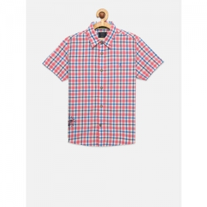 Indian Terrain Boys Pink & Off-White Regular Fit Checked Casual Shirt