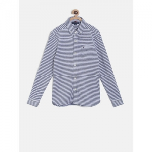 Tommy Hilfiger Boys Blue & White Regular Fit Striped Casual Shirt