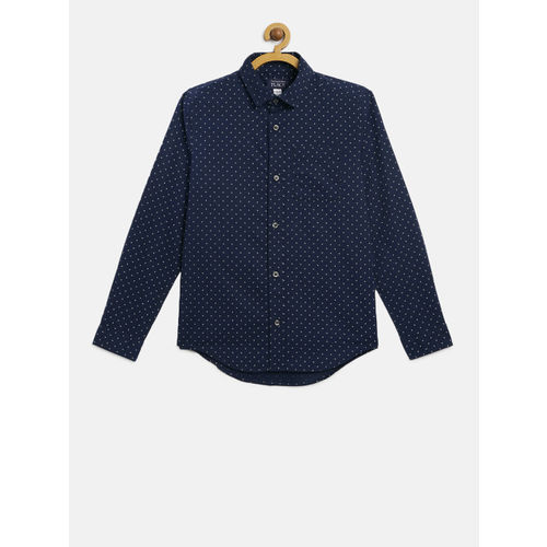 The Childrens Place Boys Navy Blue & White Regular Fit Printed Casual Shirt