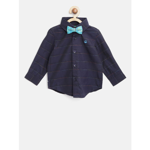 United Colors of Benetton Boys Navy Blue Regular Fit Striped Casual Shirt with Bow Tie