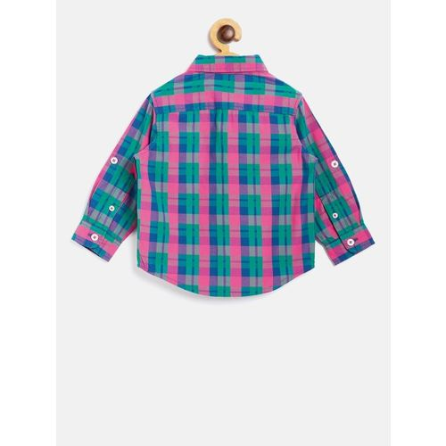United Colors of Benetton Boys Pink & Green Regular Fit Checked Casual Shirt