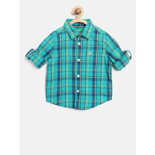 United Colors of Benetton Boys Green & Yellow Regular Fit Checked Casual Shirt