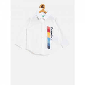 United Colors of Benetton Boys White Printed Detail Casual Shirt