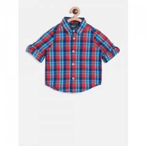 United Colors of Benetton Boys Blue & Red Regular Fit Checked Casual Shirt