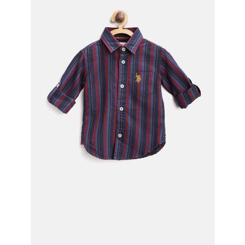 U.S. Polo Assn. Kids Boys Navy Blue & Burgundy Regular Fit Striped Casual Shirt