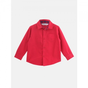 Beebay Boys Red Regular Fit Solid Casual Shirt