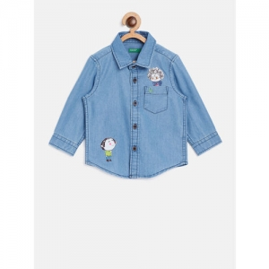 United Colors of Benetton Boys Blue Regular Fit Solid Chambray Shirt