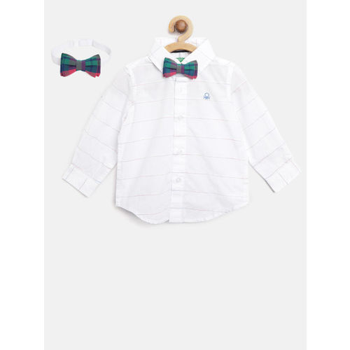 United Colors of Benetton Boys White Regular Fit Self-Striped Casual Shirt