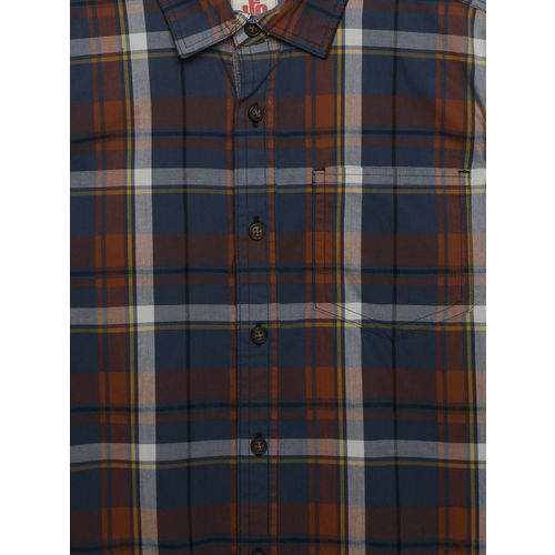 UFO Boys Blue & Brown Regular Fit Checked Casual Shirt