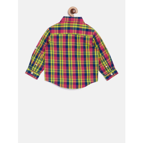 United Colors of Benetton Boys Lime Green & Pink Regular Fit Checked Casual Shirt
